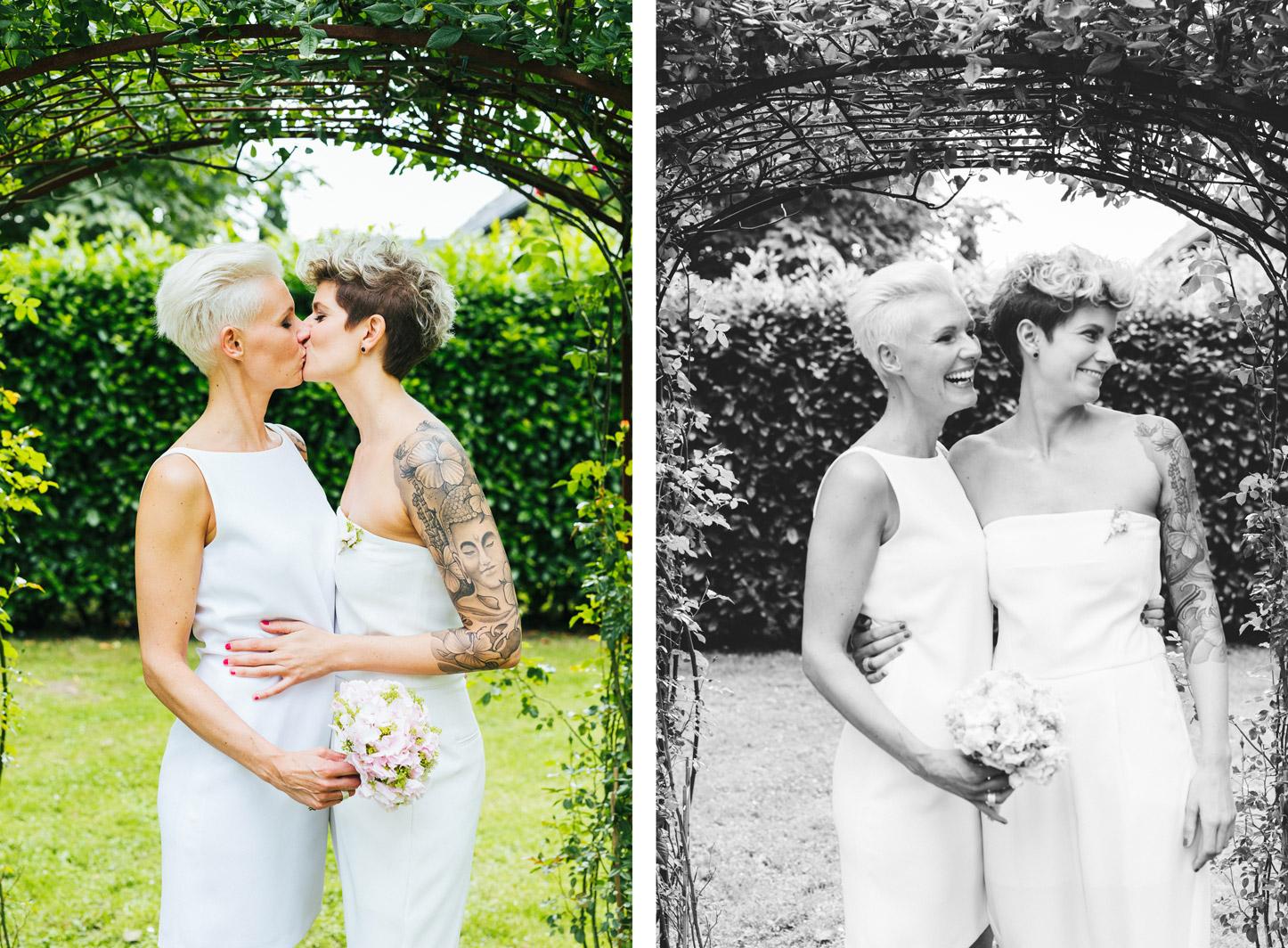 lesbian wedding, couple