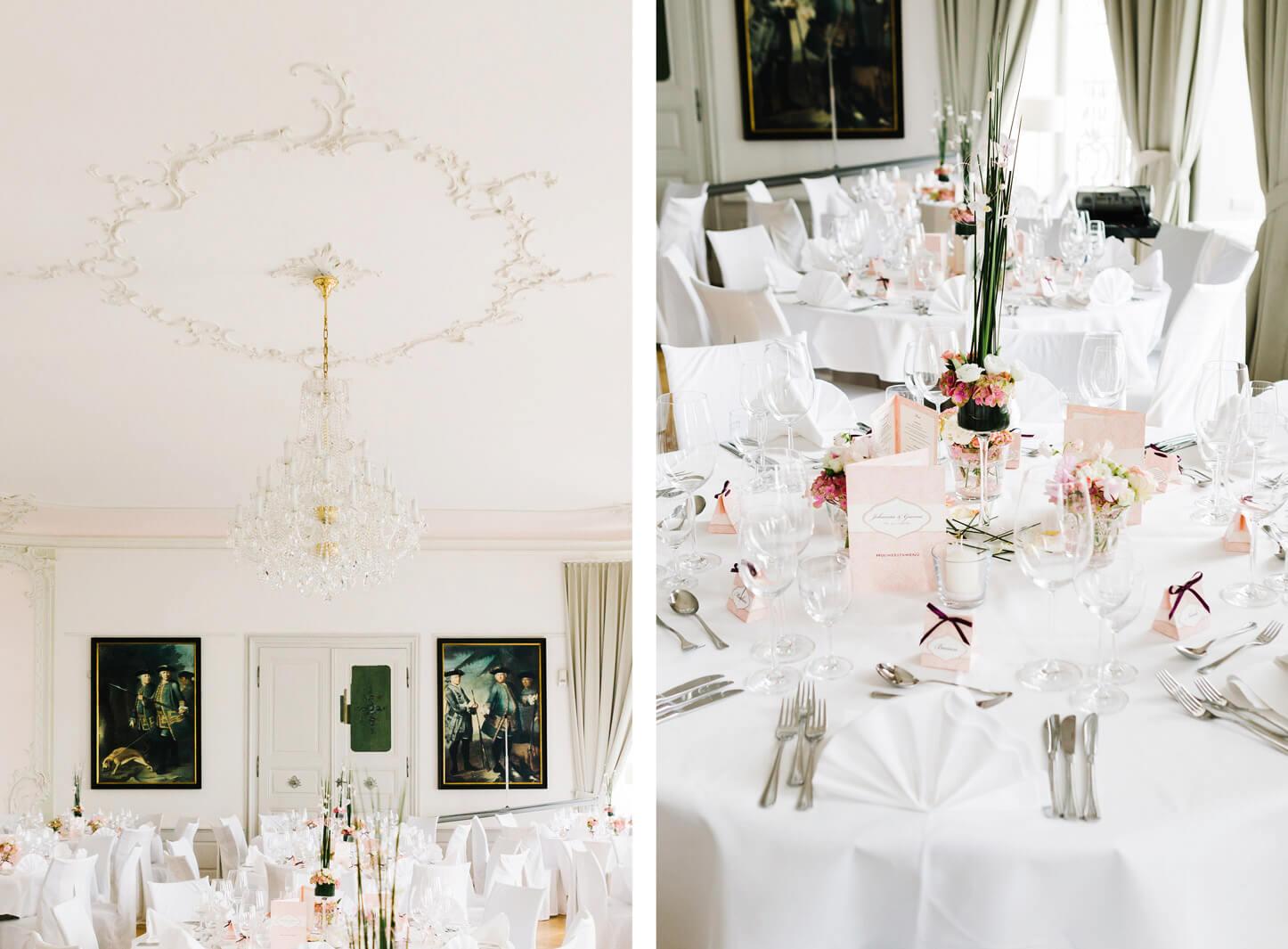 Romantische Tischdekoration zur Hochzeit