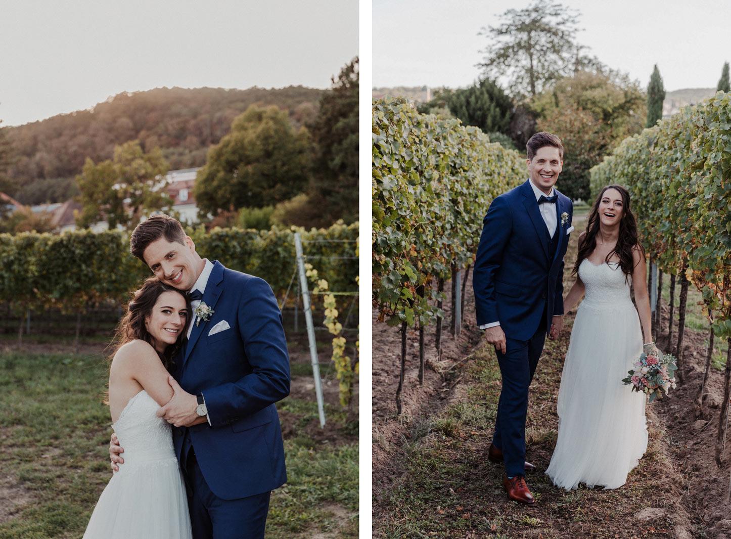 Brautpaar zwischen Weinreben