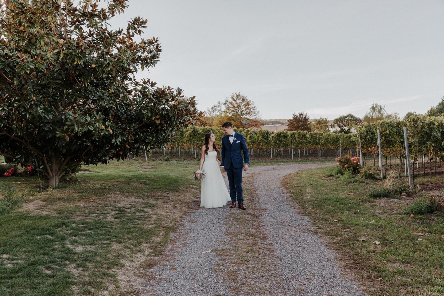 Brautpaar auf einem Weingut im Sommer