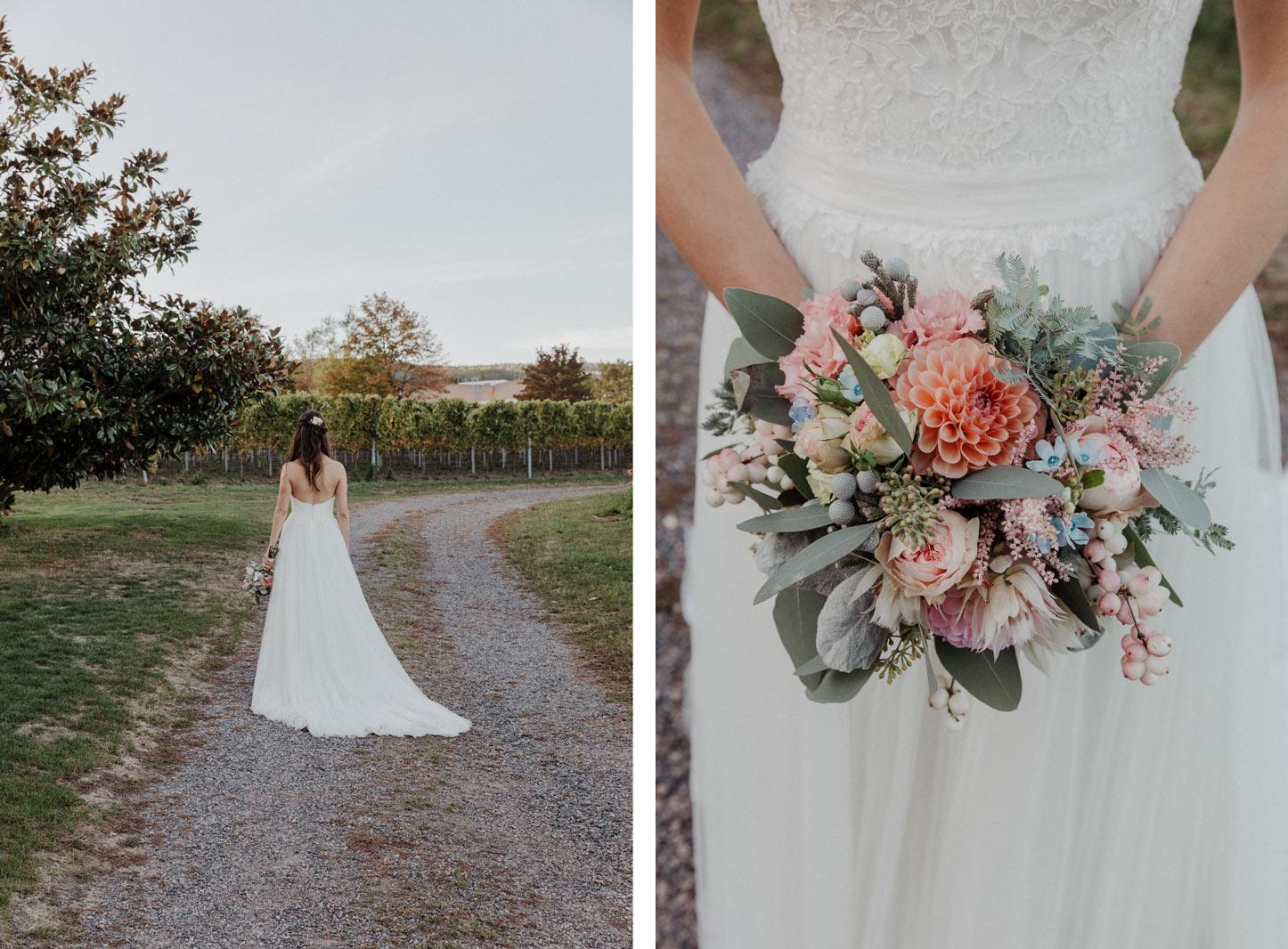 mediterrane Braut mit Brautstrauß