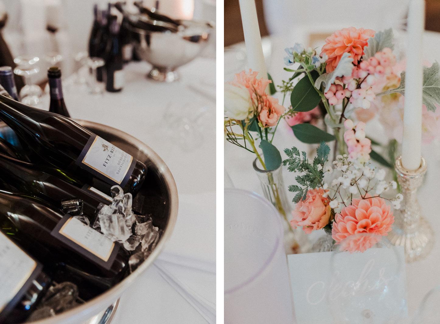 Hochzeitsdekoration in pastell Tönen