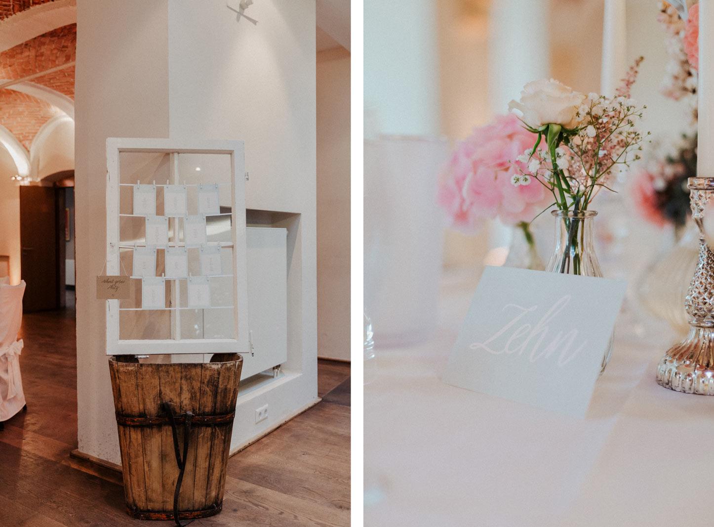 Fenster als Platzkarten Halter zur Hochzeit