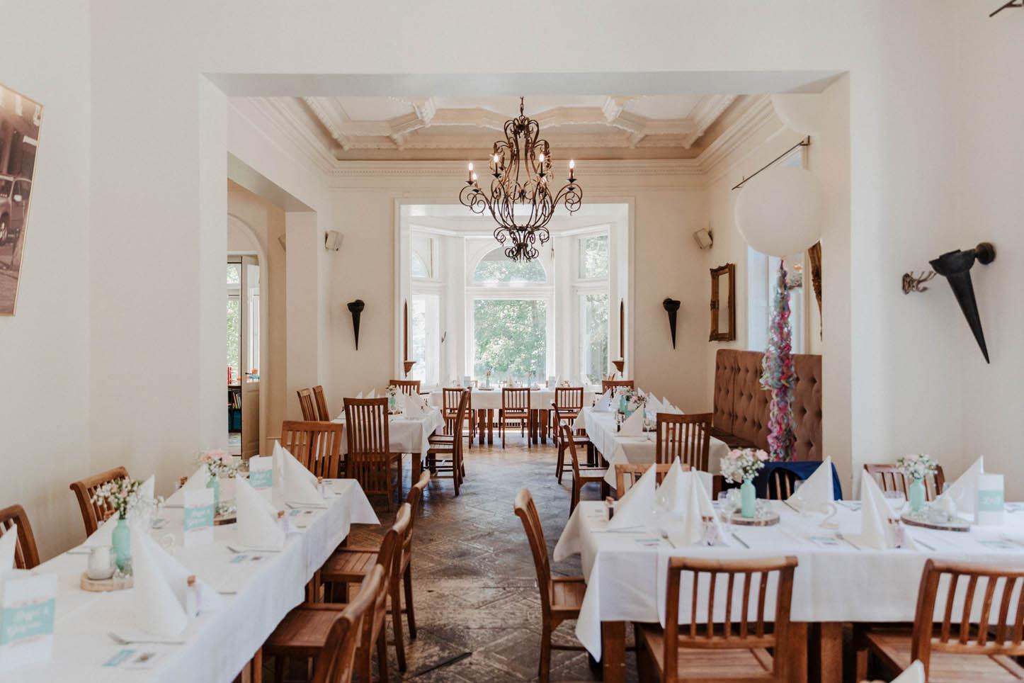 Tischdekoration in der Villa Au