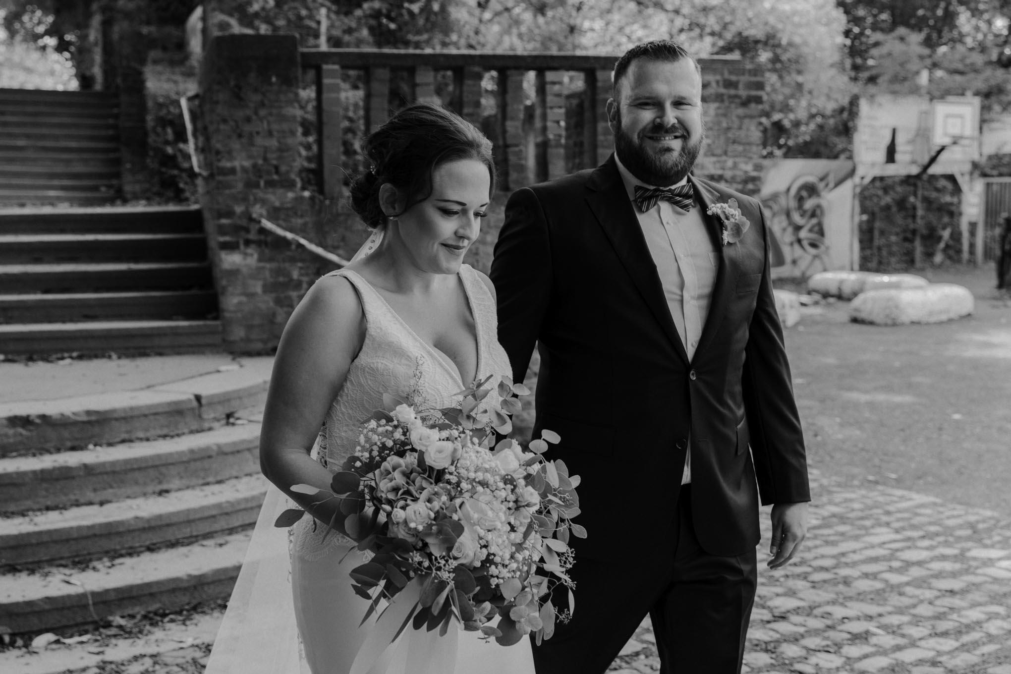 Hochzeitsfoto in schwarz weiß