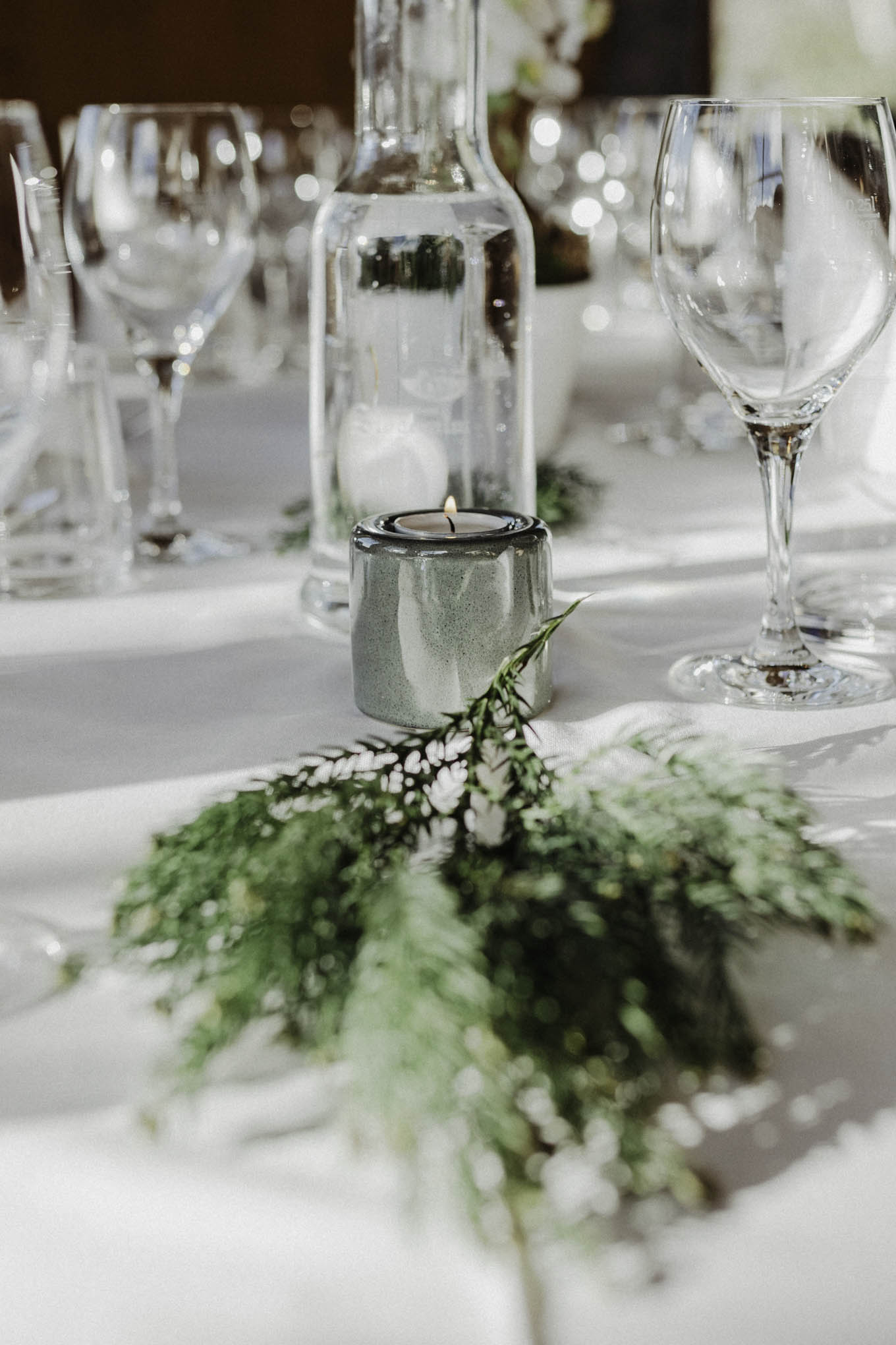 Tischdekoration für Winterhochzeit