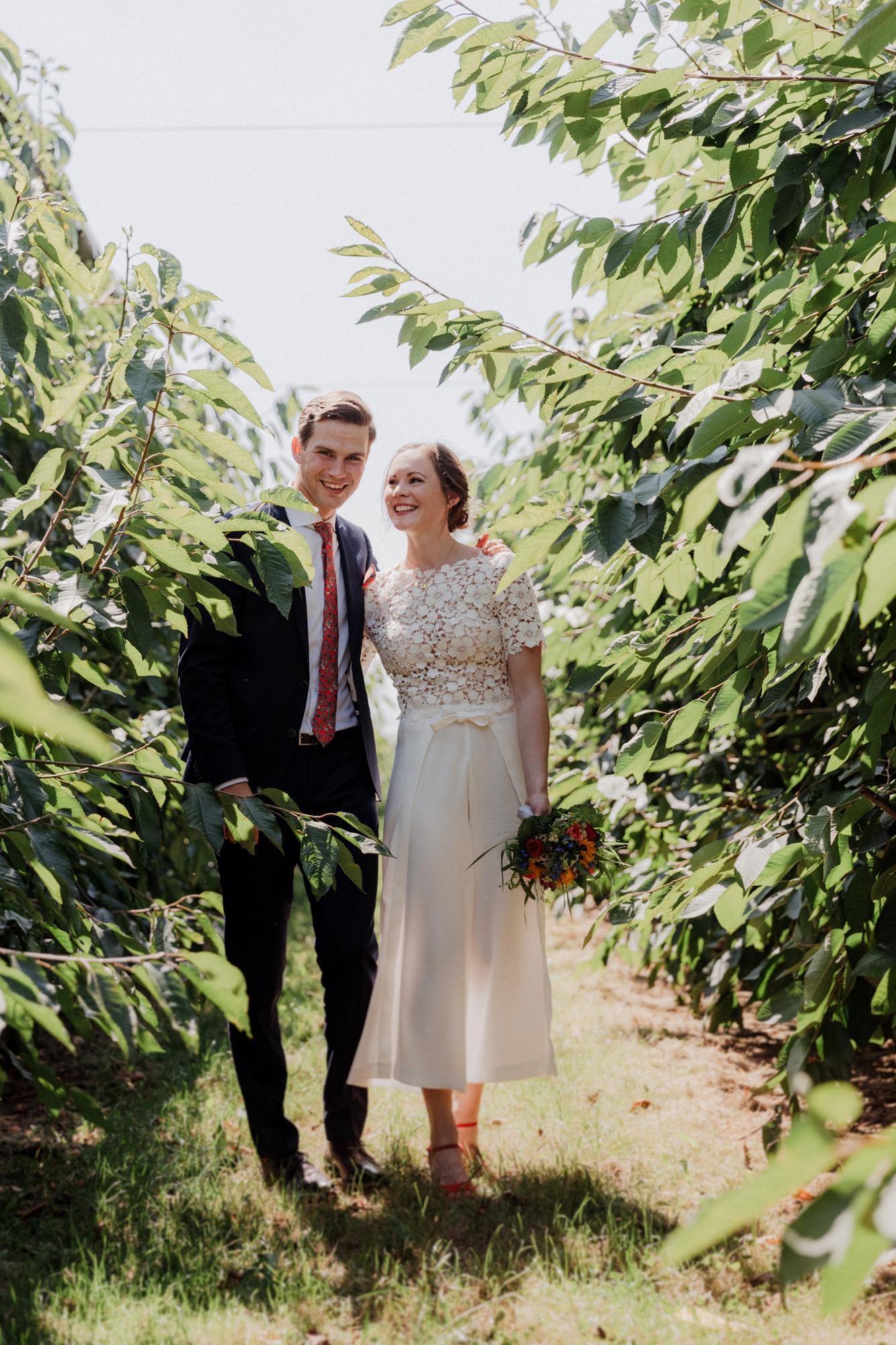 Brautpaar zwischen Sträuchern