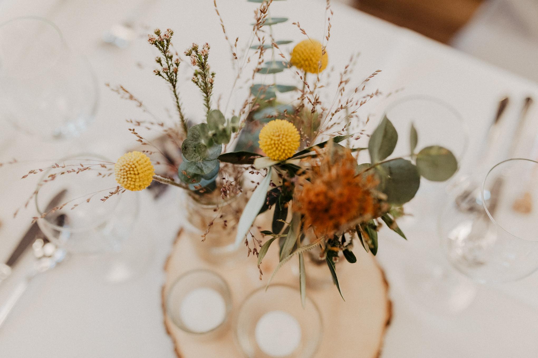Hochzeitstisch Dekoration in Gelb
